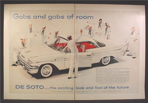 Magazine Ad For De Soto Sportsman Car, DeSoto, Sailors in White Uniforms Admiring The Car, 1958