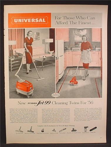 Magazine Ad For Universal Turbo Jet 99, Vacuum & Floor Polisher, Can Afford The Finest, 1956