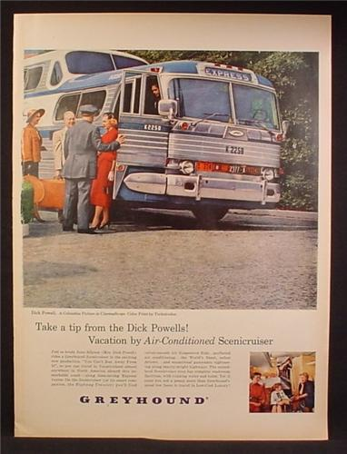 Magazine Ad For Greyhound Bus Lines, Drive Talking to Passengers Outside of Bus, 1956