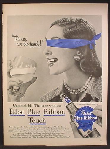 Magazine Ad For Pabst Blue Ribbon Beer, Woman with Blindfold & Tongue Sticking Out, 1956