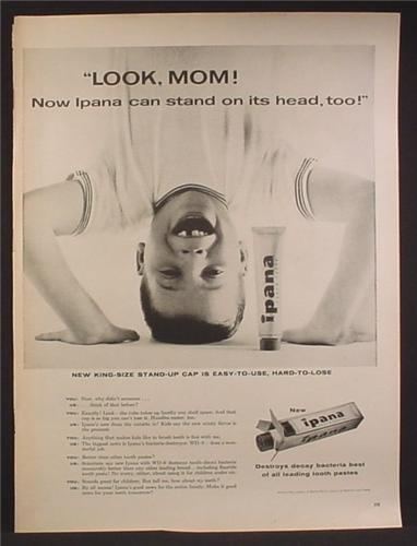 Magazine Ad For Ipana Toothpaste, Boy Standing On His Head, Look Mom, Tooth Paste, 1956