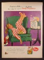 Magazine Ad For Post Toasties Cereal, Real Gone Girl in Striped Pajamas Sleeping In Easy Chair 1958