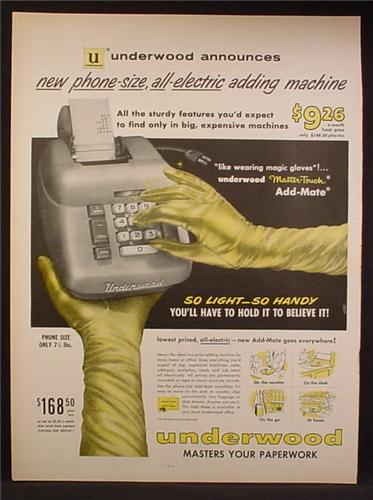 Magazine Ad For Post Underwood Electric Master Touch Adding Machine, Magic Gloves, 1958