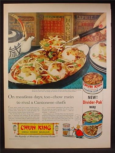 Magazine Ad For Chun King Chinese Food In a Can, For Meatless Days, Divider Pak Can, 1958