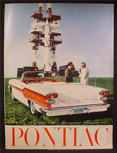 Magazine Ad For Pontiac Red & White Convertible Car, Launching Pad With A Rocket, 1958