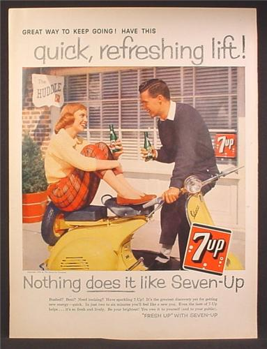 Magazine Ad For 7Up Seven-Up, Guy & Girl on Yellow Vespa Scooter, The Huddle Restaurant, 1958