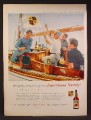 Magazine Ad For Four Roses Society, Whiskey, Sea Going Chapter, Guys On A Wooden Boat, 1958