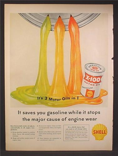 Magazine Ad For Shell X-100 Premium Motor Oil, 3 Motor Oils In One, Streams of Oil, 1958