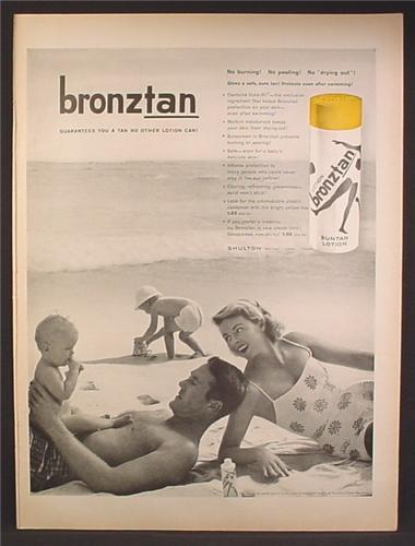 Magazine Ad For Bronztan Suntan Lotion, Family On The Beach, 1958