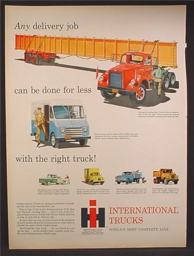 Magazine Ad For International Harvester Trucks, Tandem Axle, Hauling A Steel Beam, 1959