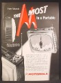 Magazine Ad For Motorola Portable TV, Television, Model 17P6, 1959