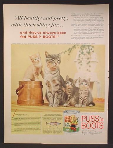 Magazine Ad For Puss N Boots Cat Food, Cat & Kittens, King Of The Hill, 1959