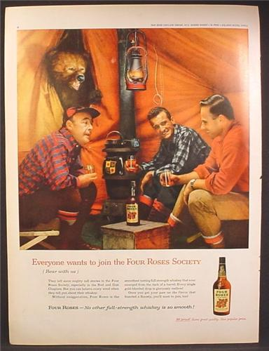 Magazine Ad For Four Roses Society, Whiskey, 3 Guys In A Tent with A Bear Looking In, 1959