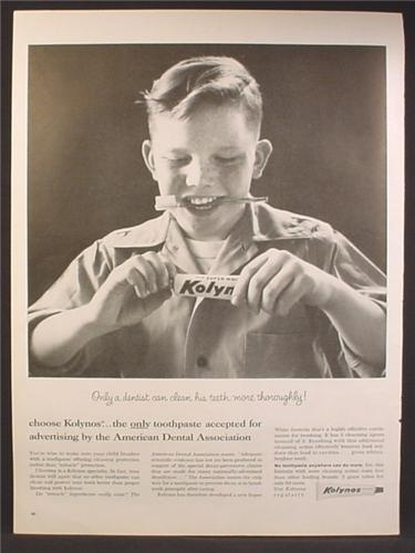 Magazine Ad For Kolynos Toothpaste, Boy With Tooth Brush In Teeth, Tooth Paste, 1959