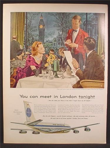 Magazine Ad For Pan Am Airlines, Pan American, Couple in Restaurant in London, 1959