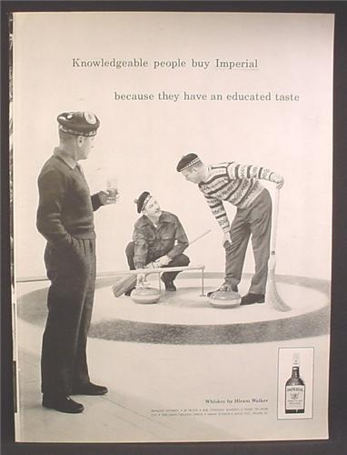 Magazine Ad For Imperial Whiskey, 3 Men In Scottish Tams Curling, 1959