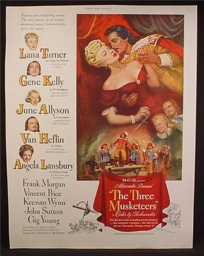Magazine Ad For Movie The Three Musketeers, MGM, Lana Turner, Gene Kelly, June Allyson, 1948