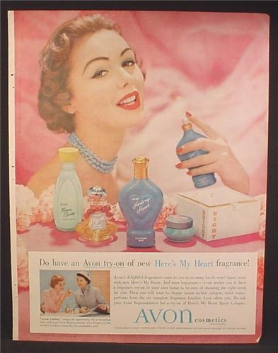 Magazine Ad For Avon Here's My Heart Fragrance, Perfume, Cosmetics, 1957