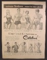 Magazine Ad For Catalina Bathing Suits & Beach Wear, Man & Woman In Leopard Print Suits, 1958