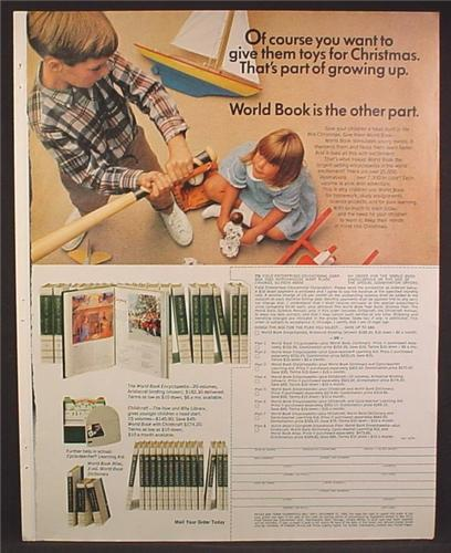 Magazine Ad For World Book Encyclopedia, Boy Holding A Bat Over Sister's Head, 1966