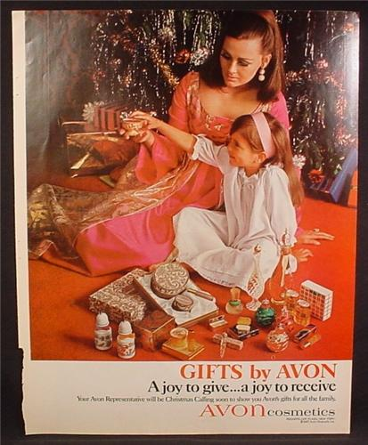 Magazine Ad For Avon, Woman & Child Admiring Their Collectible Bottles, 1966
