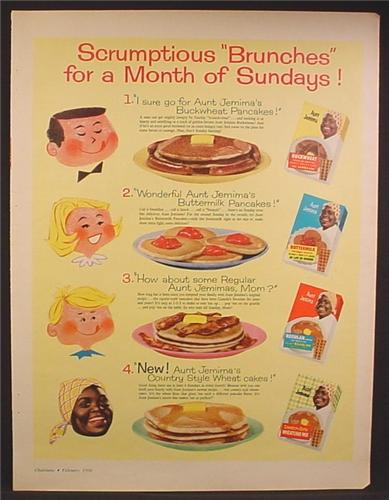 Magazine Ad For Aunt Jemima Pancake Mixes, 4 Boxes, Wheat Cakes, Buckwheat, 1960
