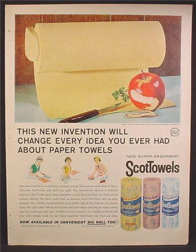 Magazine Ad For ScotTowels, Rolls Wrapped In Paper, Colored Paper Towels, 1960