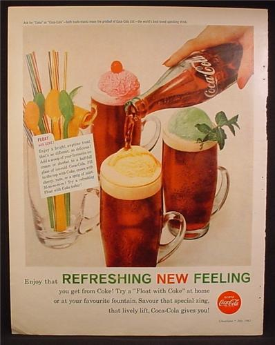Magazine Ad For Coke Coca-Cola, Float With Coke, Ice Cream Floats, 1960