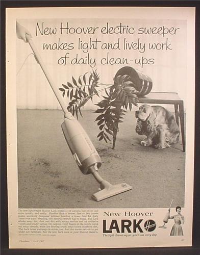 Magazine Ad For Hoover Lark Electric Sweeper Vacuum, Cocker Spaniel Knocked Over A Plant, 1962