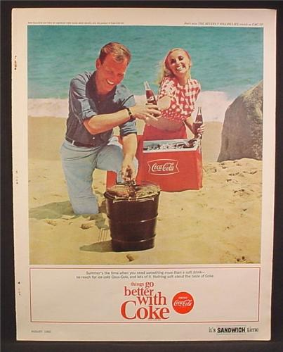 Magazine Ad For Coke Coca Cola Couple On The Beach With Cooler BBQ 1965