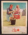 Magazine Ad For Coke Coca-Cola, Couple On The Beach With Coca Cola Cooler, BBQ, 1965
