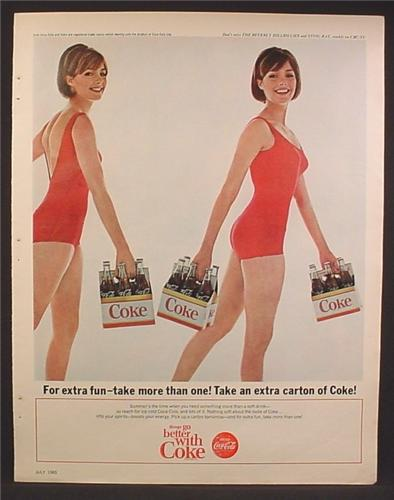 Magazine Ad For Coke Coca-Cola, Twin Women In Red Bathing Suits, Carrying Cartons, 1965