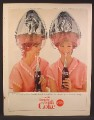 Magazine Ad For Coke Coca-Cola, Pretty Twin Women Beauty Shop Hair Dryers, 1965