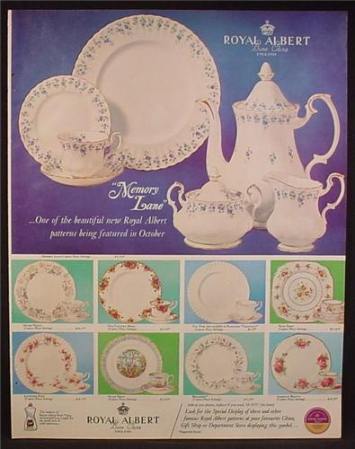 Magazine Ad For Royal Albert China, Memory Lane & 8 Other Patterns, 1965