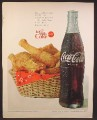 Magazine Ad For Coke Coca-Cola, Fried Chicken In Basket, Large Bottle, 1965
