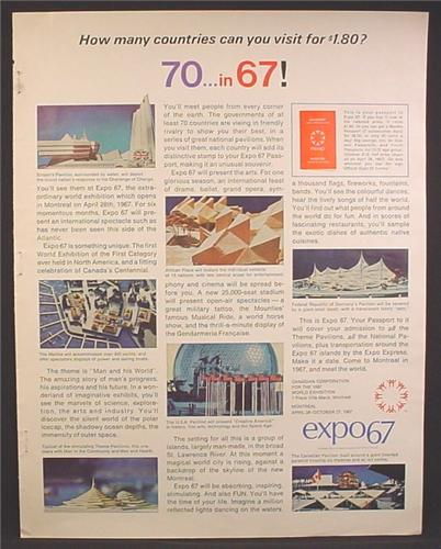 Magazine Ad For Expo67 Montreal, 70 In 67, World Exposition, 1966