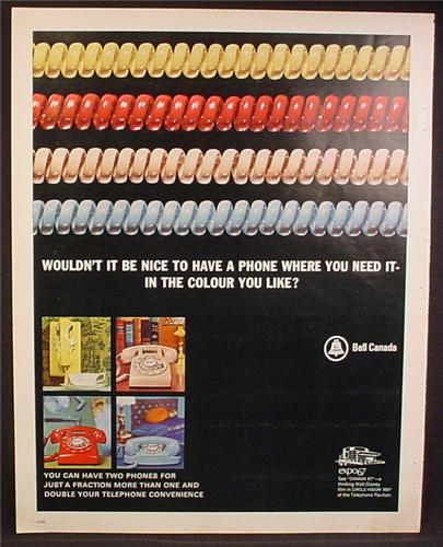 Magazine Ad For Bell Canada, Telephones, 4 Different Colored Spiral Phone Cords, 1967