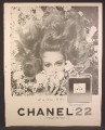 Magazine Ad For Chanel No 22 Perfume, Fragrance, Woman Surrounded By Flowers, 1967