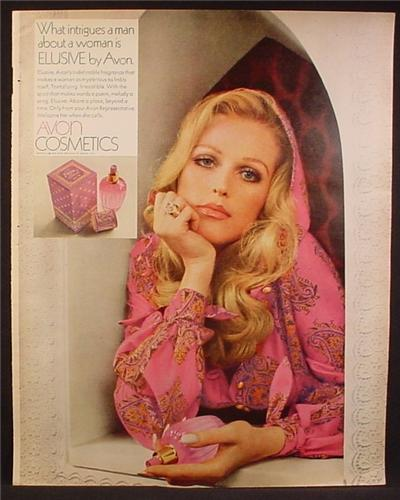 Magazine Ad For Avon Cosmetics, Elusive Fragrance, Perfume, Intrigues A Man, 1969