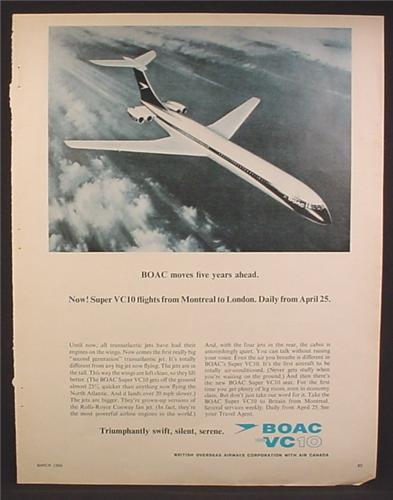 Magazine Ad For BOAC Super VC10 Airplane Flights From Montreal To London, 1966