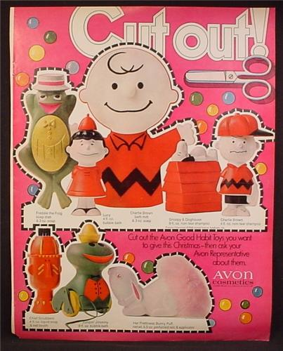 Magazine Ad For Avon Cosmetics, Good Habit Toys, Cut Outs, Charlie Brown, Snoopy, 1969