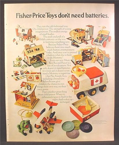 Magazine Ad For Fisher Price Toys Don't Need Batteries, Little People, Animal Scramble, 1971