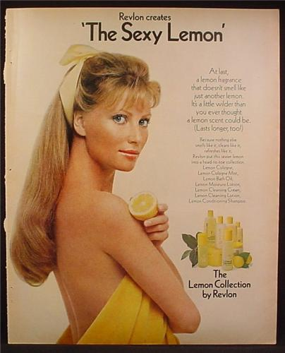 Magazine Ad For Revlon Lemon Collection Fragrance, Woman in Yellow Towel Sexy Lemon, 1972