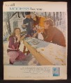 Magazine Ad For Modess Feminine Napkins, Eating Maple Syrup From Snow Trough, 1972