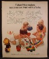 Magazine Ad For Fisher Price, Toys You Can Trust With A Baby, Snap Beads, Apple, Roly Bear, 1972