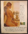Magazine Ad For Kotex Tampons, Nude Woman with Hair Tied In Back, 1973