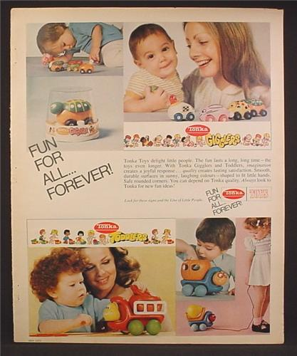 Magazine Ad For Tonka Toys, Gigglers, Toddlers, Rolling Toys & Pull Toys, 1973