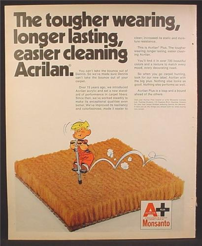 Magazine Ad For Monsanto Acrilan Carpet, Dennis The Menace On Pogo Stick Cartoon, 1973