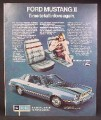Magazine Ad For Ford Mustang II Car, Blue Interior, Side & Front View, 1973