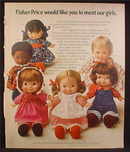 Magazine Ad For Fisher Price Dolls, Toys, Meet Our Girls, Baby Ann, Audrey, Mary, Natlaie, 1974